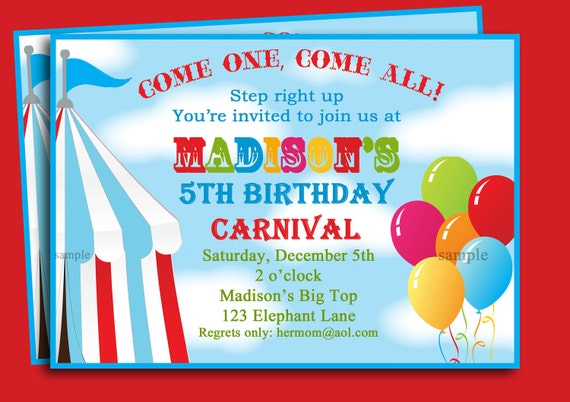 Circus Carnival Birthday Invitation Printable Or Printed With