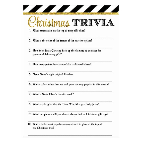 Christmas Trivia Pdf.Christmas Party Trivia Game Printable Instant Download Reindeer Stripe Collection