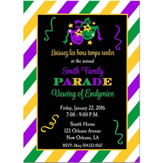 graphic about Free Printable Mardi Gras Invitations known as Mardi Gras Invitation Printable or Published with Cost-free