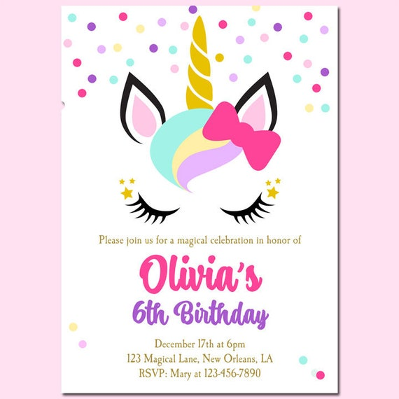 Unicorn Birthday Invitation Printable Or Printed With FREE