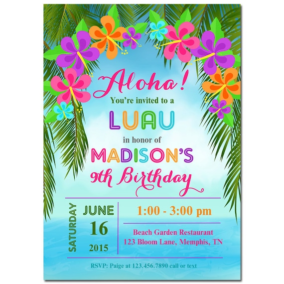 Inventive image in hawaiian party invitations free printable