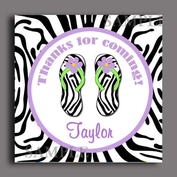 c2c9b4134 Purple Zebra Flip Flop Favor Tags - Printable and Personalized in ANY Way -  Tags