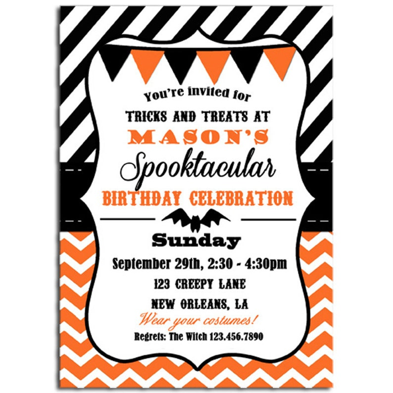 image about Free Halloween Invitation Printable called Halloween Invitation Printable or Published with Cost-free Transport - Chevron Stripe - Halloween Birthday or Halloween Celebration