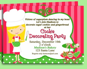 Christmas Cookie Invitation Printable or Printed with FREE SHIPPING - Cookie Swap, Cookie Decorating (You Pick Skin Tone/ Hair Color/Style)