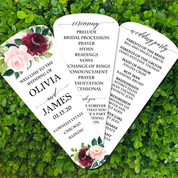 Burgundy Wreath Collection Wedding Program Personalized Printable or Printed with FREE Shipping