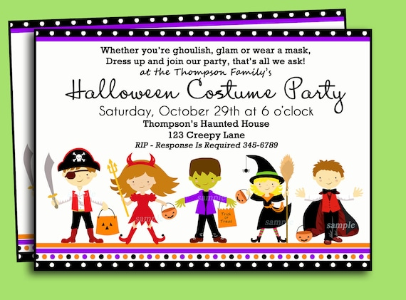 Free Printable Halloween Birthday Party Invitations.Halloween Kids Costume Party Invitation Printable Or Printed With Free Shipping You Pick Hair Color Skin Tone By That Party Chick Catch My Party