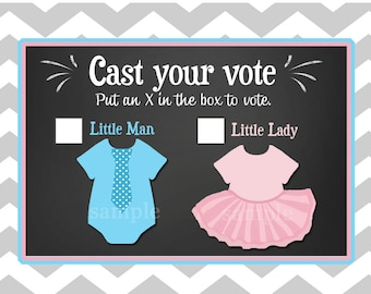 Gender Reveal Voting Cards Printable - Little Man or Little Lady - from theTies or Tutus Collection