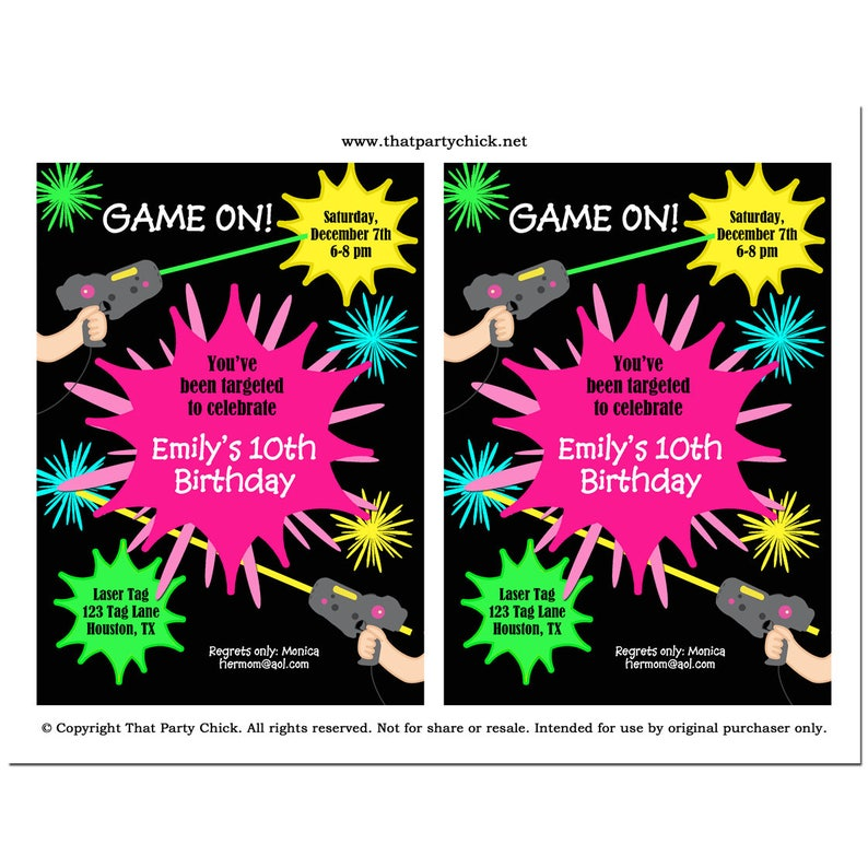 EDITABLE Laser Tag Girl Birthday Invitation Printable Instant