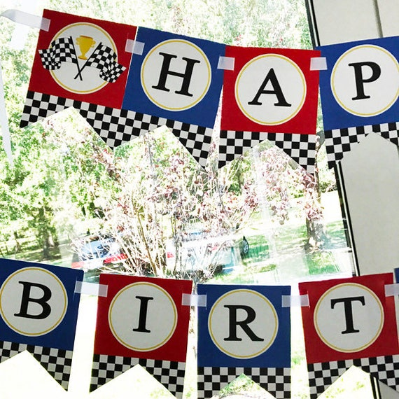 picture about Printable Racing Cars named Race Motor vehicle Racing Autos Pleased Birthday Printable Bunting Banner