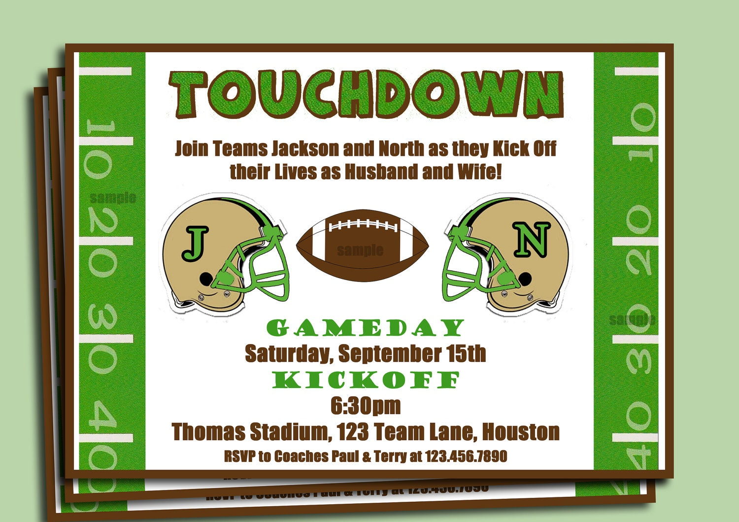 Football Couples Shower Engagement Party Invitation