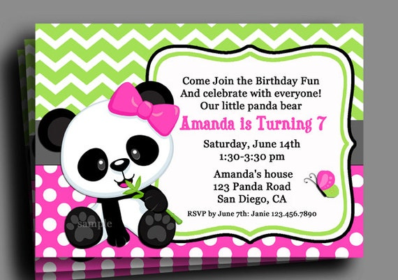 Panda Invitation Printable Or Printed With Free Shipping Birthday Baby Shower Bamboo Panda Love Collection