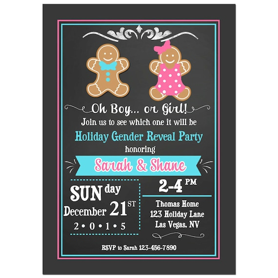 christmas gender reveal invitation printable or printed with free