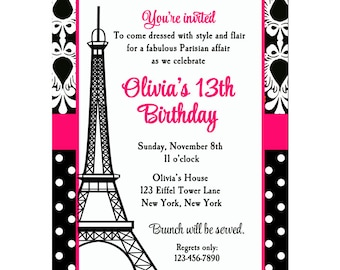 Paris Invitation Printable or Printed with FREE SHIPPING - Parisian Chic Collection