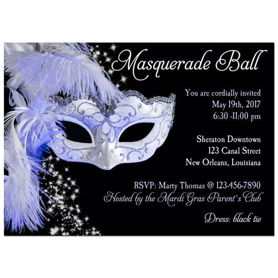 Masquerade Invitation Printable Or Printed With Free Shipping Any