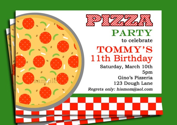 pizza party invitation printable or printed with free shipping by
