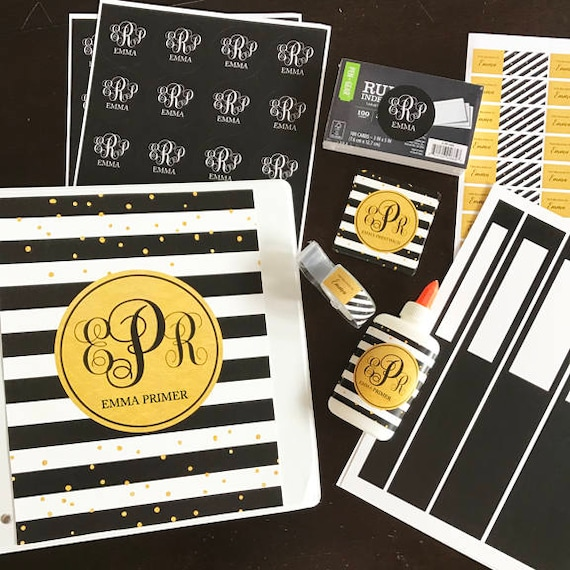 Personalized Black And Gold School Labels Printable Or