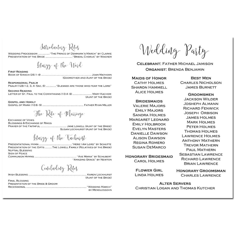 Modern Collection Wedding Folded Program Personalized Printable or Printed with FREE Shipping