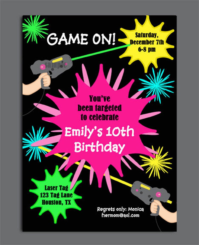 Laser Tag Girl Birthday Invitation Printable Or Printed With