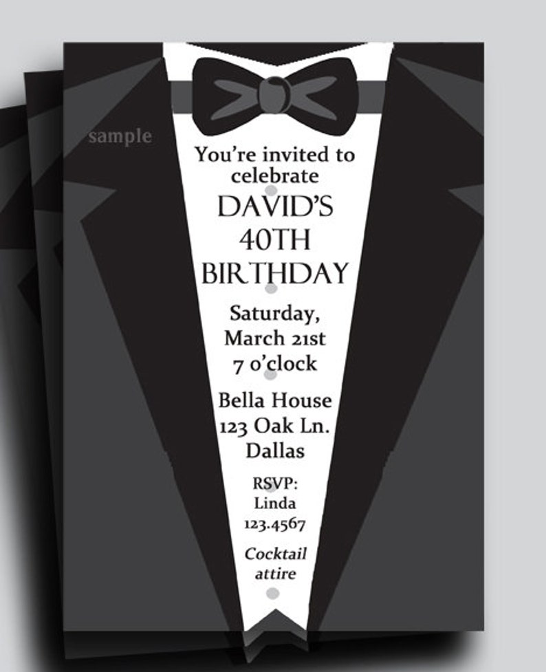 Men/'s Formal Collection Suit and Tie Tuxedo Invitation Printable or Printed with FREE SHIPPING Birthday Anniversary Customized