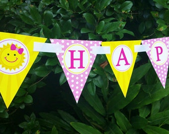 Sunshine Happy Birthday Banner Printable - Instant Download - You are My Collection
