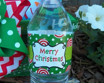 Christmas Water Bottle Wraps Printable - Peppermint Love Collection
