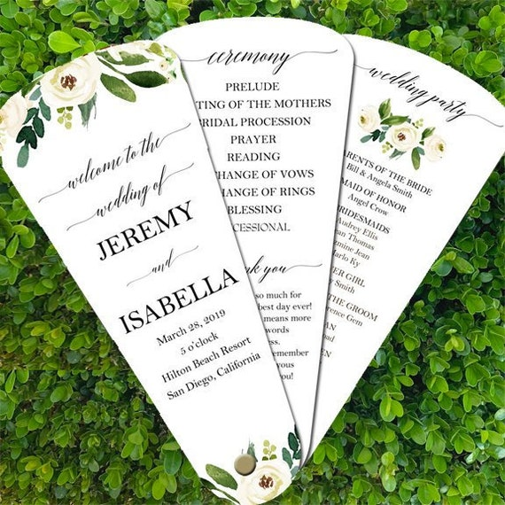 Wedding Program Petal Fans Assembled Set of 50 Elegant Floral in White and Gold Collection