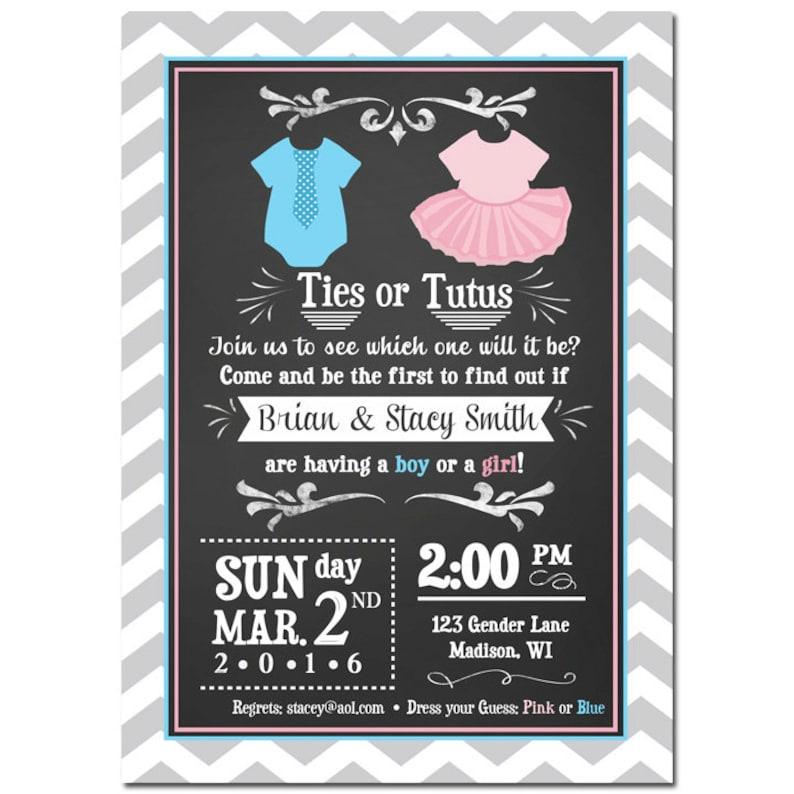 Ties or Tutus Gender Reveal Invitation Printable or Printed image 0