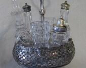 Shabby Chic Victorian Silver Crystal Castor Cruet Set