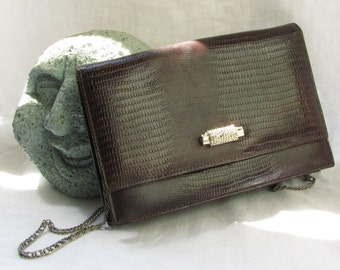 fef87d469e Embossed Brown Leather Evening Convertible Clutch  Purse Vintage by Ande
