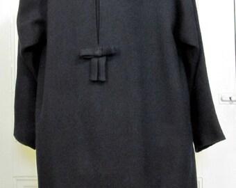 "Woven Wool Black Swing Coat  ""Crispette"" for Louis Marcus Size 6 thru 10"