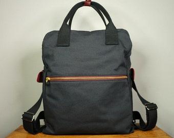 Cosmo Backpack in Black Canvas Twill/ Men/ Messenger/ Laptop Bag/ School Bag/ Leather Bag/ Fashion Bag/ Large Capacity Bag/ Back to school