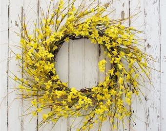 Yellow Forsythia Wreath - Modern Farmhouse Decor - 22 Inches - Spring Wreath