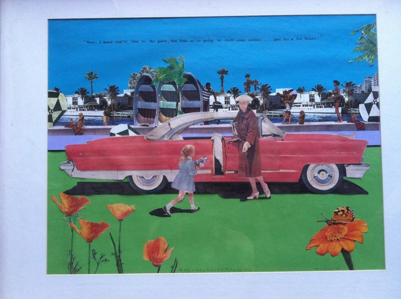 ORIGINAL Mark Bennett 1995 The Effects of Fords on Barbara #77 Artist Pop  Art Collage Famous Ford Car OOAK