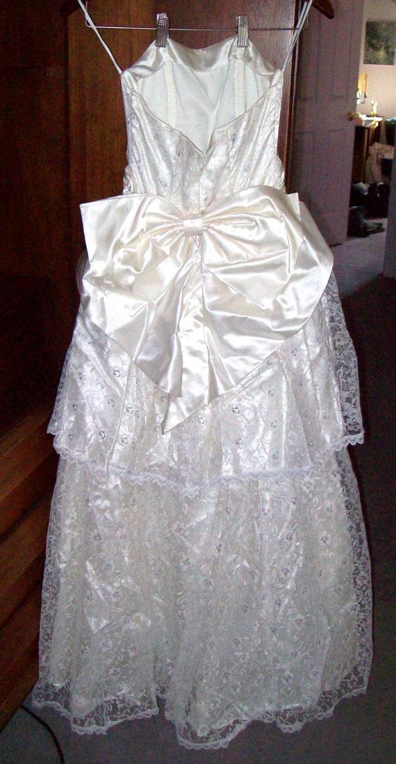 Vintage Jessica McClintock Dress Womens 5 White Sa