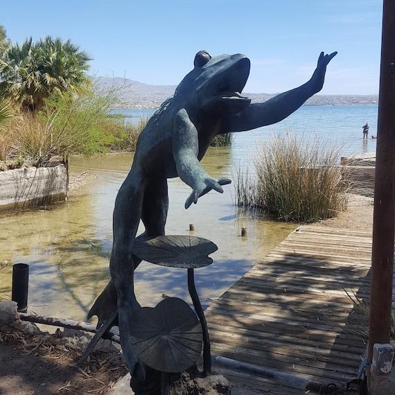 Stsatuette For Outdoor Ponds: VTG 6' Bronze Frog Garden Pond Spitter Statue Lost Wax