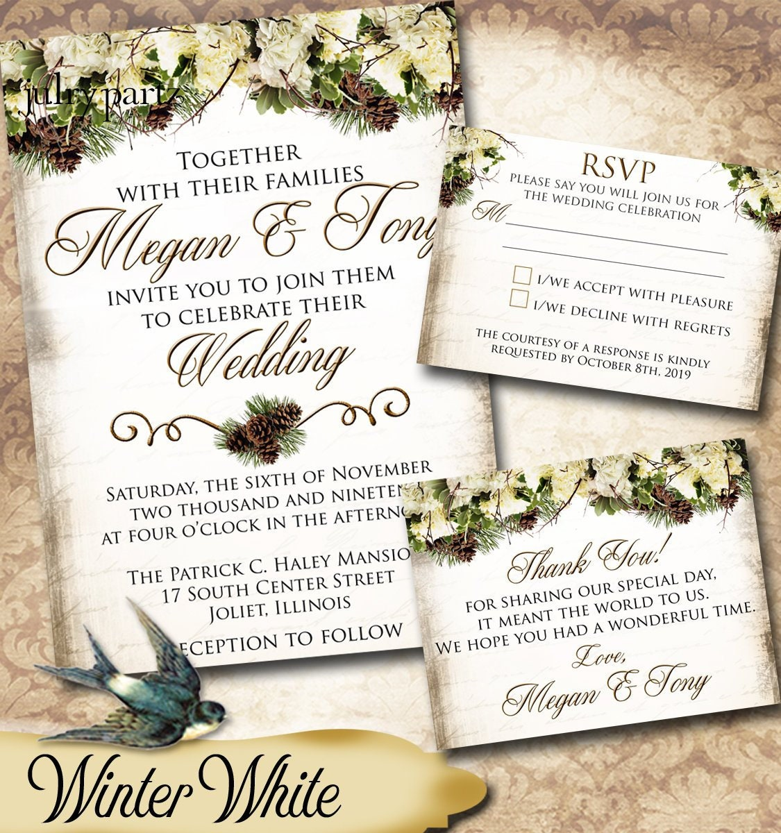 Diy Winter White Series Wedding Invitations Rsvp Cards