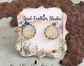 502•Lemon Twist Faux DRUZY Earrings•Stud Earrings•Boho Earrings•Post Earrings