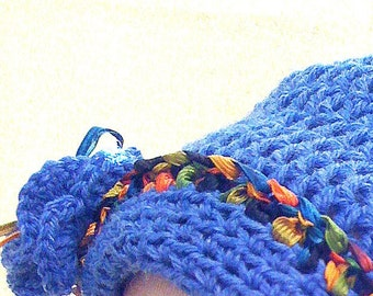 Slouchy Blue Hat w/ Bright Accents