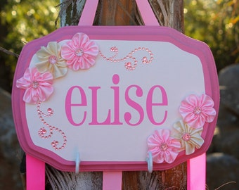 Gorgeous Floral Custom/Personalized Little Girl Bow Holder for Bows Necklaces Headbands