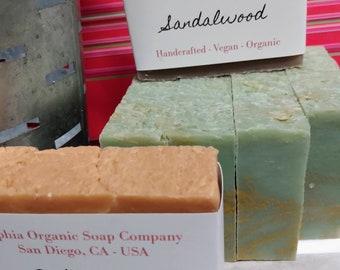 Handcrafted Organic Vegan Soap Bar - MEN'S Scents - Large 4+ ounce bar -  Artisan Soap for Men