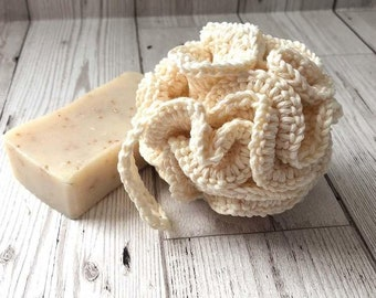 Natural Organic Handcrafted 100% Cotton Body Pouf - 4 inch diameter -  Sponge Bath Shower