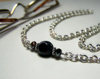 Chain for Glasses, Black Glass Bead, 26 Inches Silver Glasses Leash, Eyeglass Chain, Eyeglass Holder, Reading Glass Chain, by Eyewearglamour