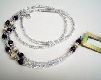 Lanyard, Eyeglass Holder, Eyeglass Necklace, Mother of Pearl Ring, Eyeglasses Ring One of A Kind, CLEARANCE