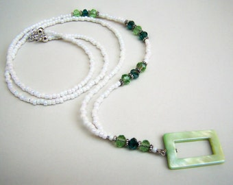 Lanyard, Eyeglass Holder, CLEARANCE,  One of A Kind, Swarovski Element, Green Crystals, Eyeglass Necklace, Eyeglass Chain