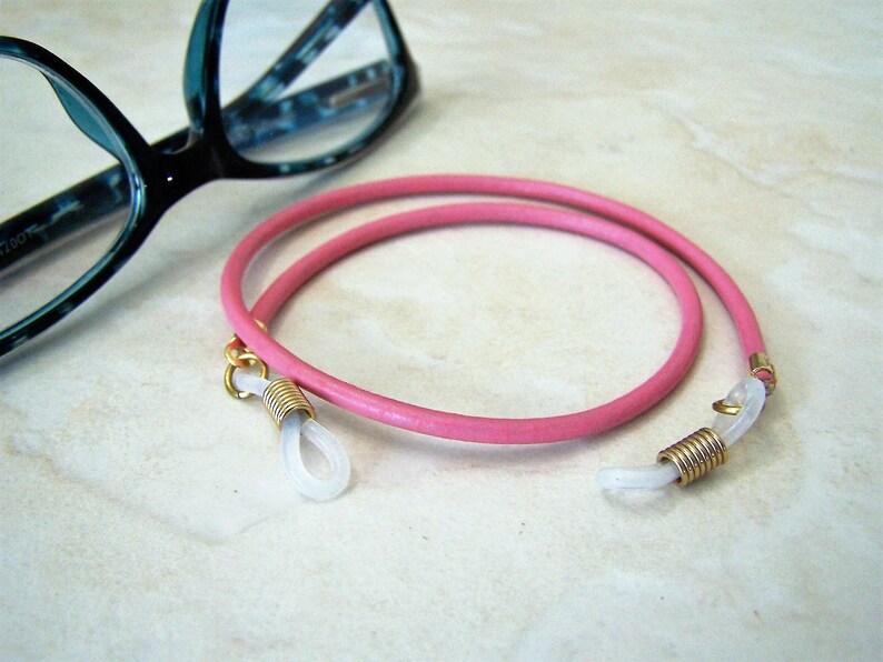 Short Leather Eyeglass Chain Unisex Eyeglasses Holder Custom Length 15-22 inches