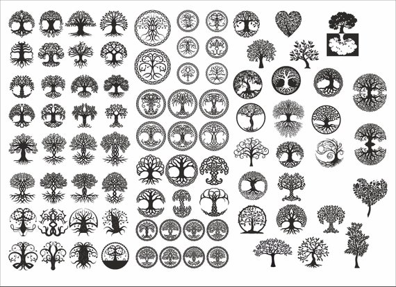 Tree of Life collection , Tree Silhouette, Vector files, for laser cut, cnc, digital files cdr, dxf, eps, ai, plt, svg, dwg