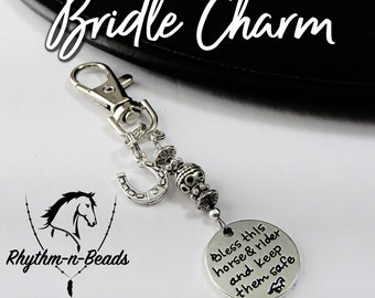 BRIDLE CHARM, Bless this horse and rider charm, horse tack, horse bridle decoration