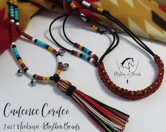 GREAT SPIRIT, Cordeo, neckrope, Bridleless riding, Trail Bells, Bear Bells, Rhythm Beads, Horse Necklace, Western Riding,