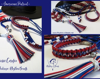 AMERICAN PATRIOT, Cordeo, neckrope, Bridleless riding, Trail Bells, Bear Bells, Rhythm Beads, Horse Necklace, Western Riding,