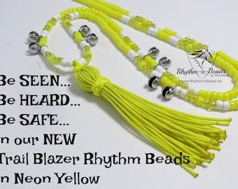 Rhythm Beads ,TRAIL BLAZER-Reflective Neon Yellow, Bear Bells, Hunting Season Yellow,  Neon Yellow Horse Tack, Trail Beads for Horses,
